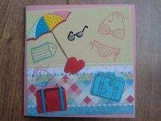 Zin in vakantie! Snijmallen en stempels van BoekenVoordeel, achtergrondpapier uit Flower Delight van StudioLight.
