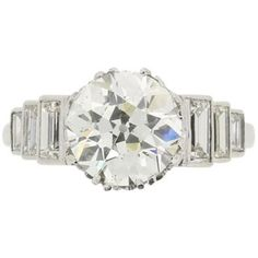 EDR Certified 3.17 Carat Art Deco Diamond Engagement Ring with Set Shoulders | From a unique collection of vintage engagement-rings at https://www.1stdibs.com/jewelry/rings/engagement-rings/