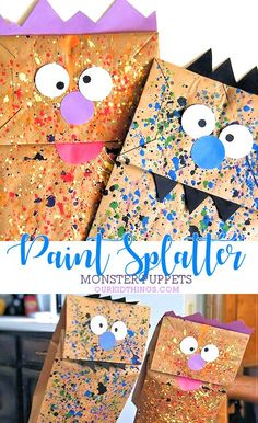 Paper Bag Paint Splatter Monster Puppets Kids Craft #paint #monsters #paperbagcraft #kids