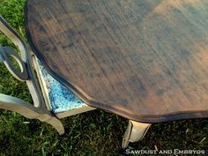 dining room table redo with a neat grey with glaze and a natural dark stained table top