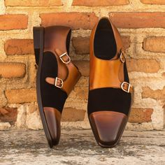 The Double Monk in Cognac Painted Calf and Black Luxe Suede - Robert August Apparel Custom Made Shoes, Custom Design Shoes, Best Shoes For Men, Men S Shoes, Mens Monk Strap Shoes, Formal Dresses For Men, Mens Winter Boots, Stylish Boots, How To Make Shoes
