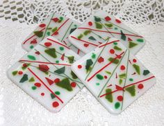 Fused glass coasters in Christmas colors by cottagebreezeglass