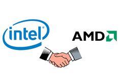 """شراكة بين Intel وAMD      انتل و اي ام دي فى شراكة   اعلنت كل من انتل و AMD عن شراكة فيما بينهم لاطلاق معالج جديد انتل كور""""Intel C..."""