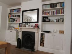 Alcove units with wood store Alcove Ideas Living Room, Built In Shelves Living Room, Living Room Designs, Alcove Storage, Alcove Shelving, Front Room Decor, Sitting Room Decor, Alcove Cupboards, Wood Store