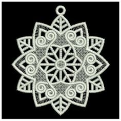 Wind Bell Embroidery Embroidery Design: FSL Snowflake Ornament 3.44 inches H x 3.84 inches W