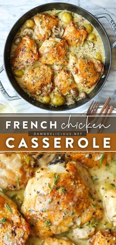87 reviews · 75 minutes · Serves 3-4 · A main course idea for a family-friendly dinner any day of the week! Cooked in a decadent herb-wine sauce, this French Chicken Casserole with baby potatoes and mushrooms is hearty and comforting. Save… Yummy Chicken Recipes, Turkey Recipes, French Chicken Recipes, Recipe For Chicken Casserole, French Recipes Dinner, French Food Recipes, Best Dinner Recipes Ever, Smothered Chicken Recipes, Dinner Casserole Recipes
