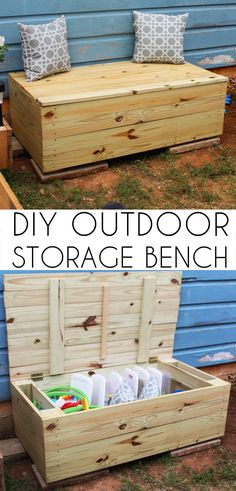 DIY outdoor toys to get kids moving - Inner Child FunOutdoor DIY toys to get kids moving - great ACTIVE fun!DIY outdoor storage bench, outdoor toy boxDIY outdoor storage bench, outdoor toy boxHow To Hide Children& Toys Outdoors, A DIY Storage Solution Diy Outdoor Toys, Outdoor Toy Storage, Outdoor Toys For Kids, Diy Toy Storage, Pallet Storage, Storage Chest, Outdoor Box, Outdoor Chairs, Outdoor Pallet