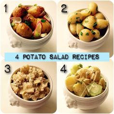 4 delicious kinds of potato salad. All very different!   1: http://soedekatrine.dk/?p=938&lang=en_GB 2: http://soedekatrine.dk/?p=254&lang=en_GB 3: http://soedekatrine.dk/?p=729&lang=en_GB 4: http://soedekatrine.dk/?p=726&lang=en_GB