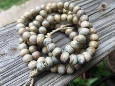 8mm Round Bone Beads, Handcrafted Cream Beige with Cobalt Blue Color, Boho…