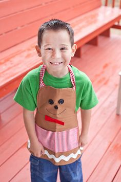 Holiday children's apron.  Gingerbread.  Boys.  Christmas.  Baking.