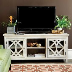 Create A Decorative Display Around Your TV With Lighting, Accessories And  One Stylish (yet Functional) Media Cabinet. HomeDecorators.com | Pinterest  | Media ...