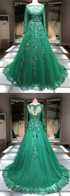 Long Prom Dresses Green, Long Sleeve Prom Dresses Princess, Tulle Prom Dresses Lace, Elegant Prom Dresses Lace-up Princess Prom Dresses, Prom Dresses For Teens, Elegant Prom Dresses, Prom Dresses Long With Sleeves, Cheap Evening Dresses, Ball Dresses, Prom Gowns, Dress Long, Formal Dresses
