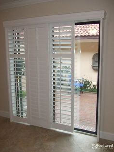 Cozy Sliding Shutters modernize your sliding glass patio door and are a great sliding patio door blinds Sliding Glass Door Shutters, Sliding Door Window Treatments, Sliding Patio Doors, Entry Doors, Barn Doors, Sliding Door Curtains, Wood Doors, Sliding Door Coverings, Folding Doors