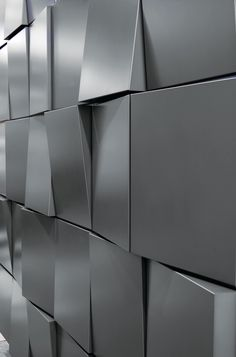 Dri-Design's new Tapered Series architectural metal wall panel system allows each panel face to taper top to bottom, bottom to top, left to right or right to left. Random or regimented patterns can be created. Metal Wall Panel, 3d Wall Panels, Metal Panels, Metal Design, Wall Design, Loft Design, Interior Walls, Home Interior Design, Acoustic Wall