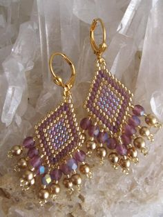 matte iris rainbow delica beads | Seed Beadwoven Earrings Amethyst/Plum by pattimacs on Etsy