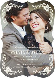 Beautiful Moment - Signature White Wedding Invitations in Pearl or Dark Gray   Elk Design