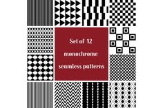 12 black and white seamless patters by Xella_Design on Creative Market