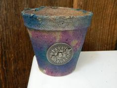 Earth friendly Rustic Paper pots  Violet and Blue   by papercatz