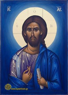 Orthodox icon of Jesus Christ Images Of Christ, Religious Images, Religious Icons, Religious Art, Greek Icons, Church Icon, Jesus Prayer, Jesus Face, Byzantine Icons