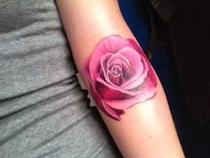 love the colour without line (pink rose 23 Uplifting Rose Tattoos For Women)