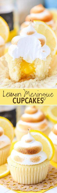 Lemon Meringue Cupcakes - light, fluffy and moist lemon cupcake with lemon curd filling and meringue frosting on top!