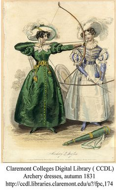 Claremont Fashion Plates: Archery Dresses, Autumn 1831 Never mind the dresses; look at the beautiful recurve bows! So Graceful: an ancient shape! Historical Costume, Historical Clothing, Historical Dress, Jane Austen, Mode Vintage, Vintage Ladies, Vintage Hats, Victorian Fashion, Vintage Fashion