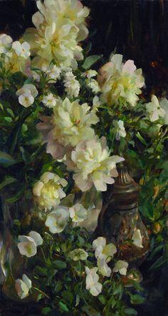 ❀ Blooming Brushwork ❀ - garden and still life flower paintings - Rose Frantzen   Harmony in White