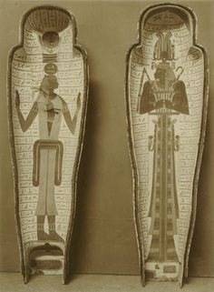 Interior Anthropoid Coffins of Priest Ankhefenkhonsu, decorated with Deities Nut and Osiris. Photographer: Émile Brugsch Time Period: Late Period - Dynasty XXV