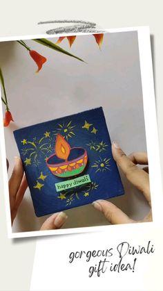Diwali Diy, Diwali Gifts, Happy Diwali, Diy Gift Box, Diy Gifts, Gift Tags, Hand Painted Canvas, Diy Canvas Art, Hand Crafts For Kids