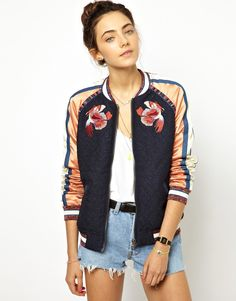 Maison Scotch | Maison Scotch Baseball Jacket with Embroidery at ASOS