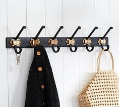 Black & Brass Numbered Row of Hooks #potterybarn