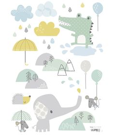 Stickers crocodile et éléphant Smile, it's raining by Dawn Machell x 42 cm) Alphabet Poster, Cuadros Diy, Decoration Stickers, Baby Kind, Little Girl Rooms, Kids Prints, Cartoon Kids, Baby Design, Cute Illustration