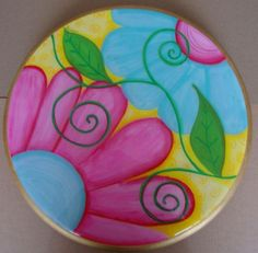 Wooden Coasters Diy, Cardboard Crafts, Paper Crafts, Decoupage, Acrylic Painting Flowers, Stick Art, Cds, Painted Sticks, Hand Painted Furniture