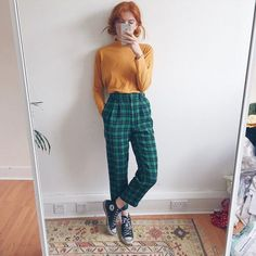 Skin Care Ideas To Keep Your Skin Glowing The nicest dark green checkered tartan vintage high waisted & Depop The post Skin Care Ideas To Keep Your Skin Glowing & fashion trends appeared first on Plaid pants . Vintage Outfits, Retro Outfits, Grunge Outfits, Grunge Fashion, Look Fashion, 90s Fashion, Retro Fashion, Korean Fashion, Fashion Models