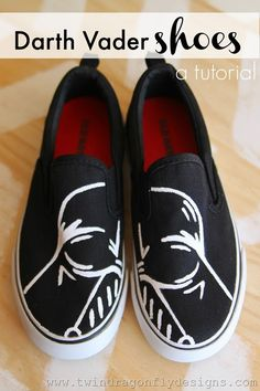 Darth Vader Shoes #starwars #tutorial.  No printable as she did them freehand but this looks do-able.