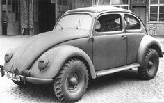 VW typ 87. It has the 4x4 drivetrain of the Schwimmwagen, but with a KDF sedan body. Also known as a Kommandeurwagen. Credit: The Samba.com