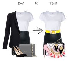 """""""Day to Night"""" by aquabanana on Polyvore featuring RE/DONE, McQ by Alexander McQueen, DKNY, Equipment, Dolce&Gabbana, Gianvito Rossi, Jimmy Choo, Lilly Pulitzer and Yves Saint Laurent"""