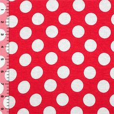White Polka Dot on Red Cotton Jersey Blend Knit Fabric