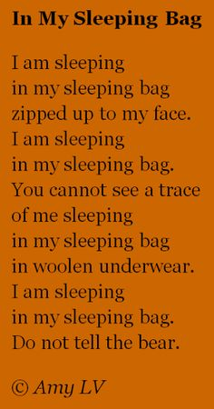 The Poem Farm: A Camping Poem - #233 is in a Sleeping Bag | growing poetry and lessons for all ages...