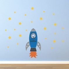 Rocket wall decal for space themed nursery or toddler room.