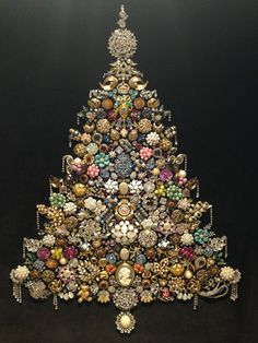 "Jewelry Christmas tree. This is a large tree set in a 24""x30"""" frame.  This was a labour of love by Analia 2016."