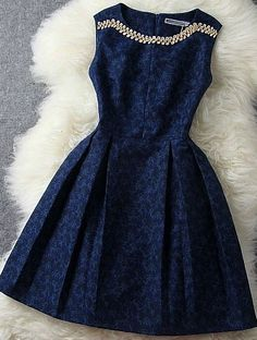Fashion Blue Beading Rhinestone Embroidered Dress Party Dress but why isn't it longer? Aren't knee length skirts a party Pretty Outfits, Pretty Dresses, Beautiful Dresses, Cute Outfits, Gorgeous Dress, Cute Simple Dresses, Fall Outfits, Pastel Outfit, Mode Inspiration