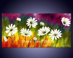 Free shipping Handpainted Canvas Wall Art Abstract Oil Painting White Daisy Flower Modern Home Decoration Picture