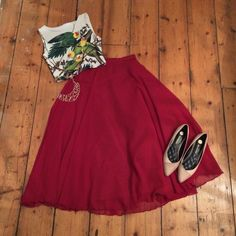 Black Milk Sweet Carolina Wifey Top & Vintage Red Chiffon Skirt. (By Me)
