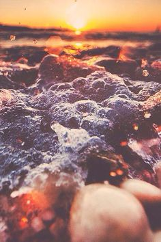 sunset and sea foam