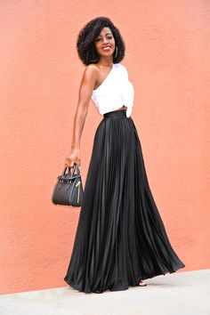 Style Pantry   One Shoulder Knotted Top + Pleated Maxi Skirt