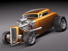 Ford 1934 3window coupe HOT ROD 3D Model