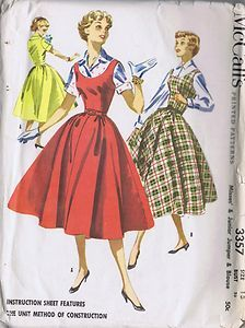 "Vintage Jumper Blouse 50s Sewing Pattern 3357 McCalls Sz 13 Bust 31 Hip 34"" Cut 