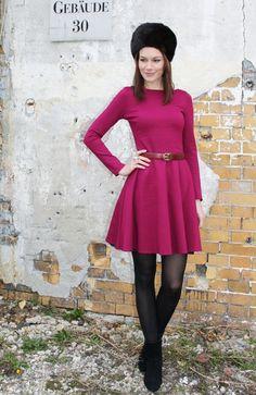 Romi - Winter Jersey Kleid Tellerrock Berry von Vampire Vintage - Unique Vintage & Handmade auf DaWanda.com