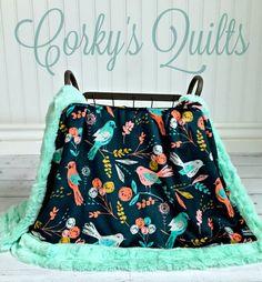 Minky Bird Baby Blanket Designer Minky by TheDesignerMinkyCo